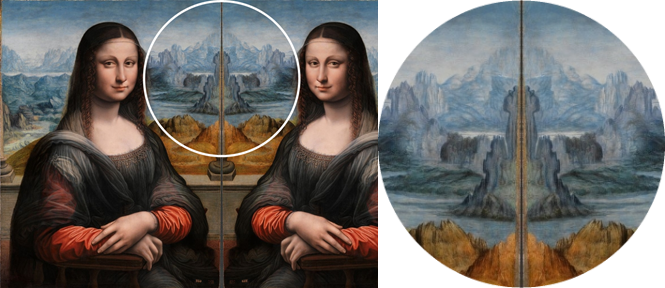 Mona Lisa del Prado mirrored and the shape of a large bird revealed.