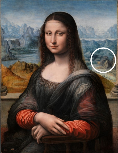 The spiral pyramid highlighted in the background of Mona Lisa del Prado.
