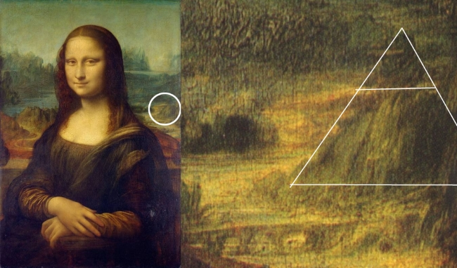 Pyramid located in the background of Mona Lisa.
