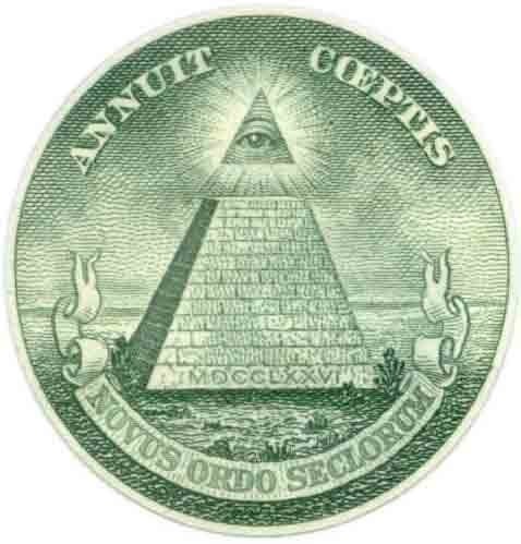 One-dollar bill and the all-seeing eye pyramid.