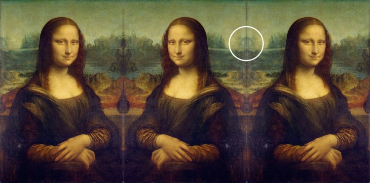 Mona Lisa mirrored and tripled, and thus the eye in the sky is visible.