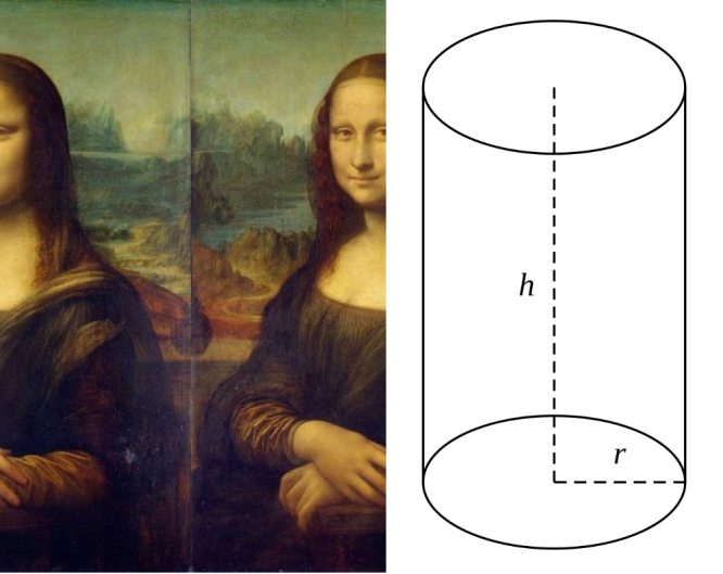 Mona Lisa compared with a cylinder.