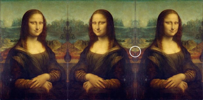 Mona Lisa mirrored and tripled, and thus golden triangle is visible.