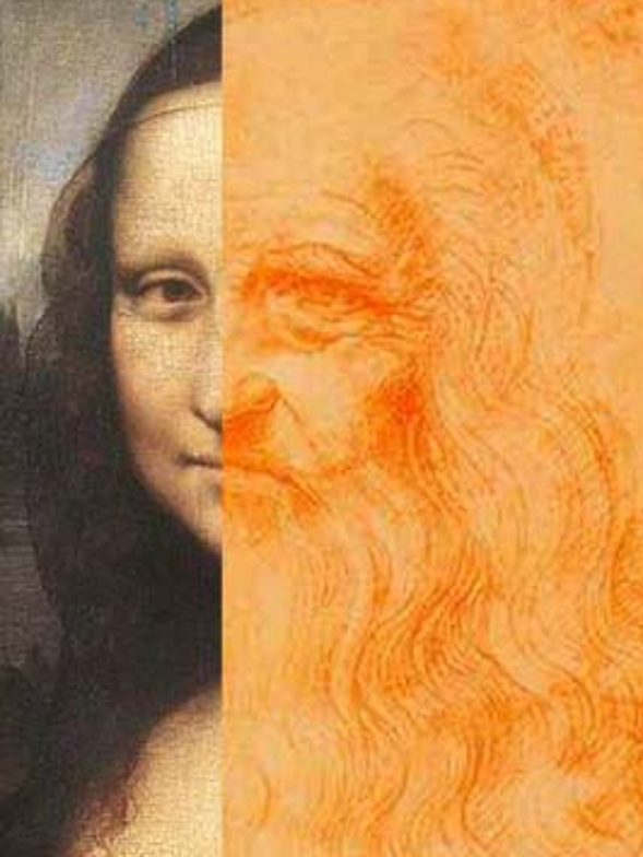 Image of possible Leonardo's self-portrait and Mona Lisa matching to each other.