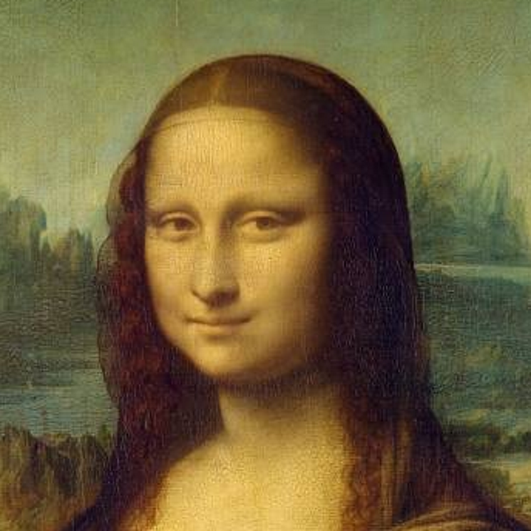 Large image of Mona Lisa's head and thus the veil is shown.