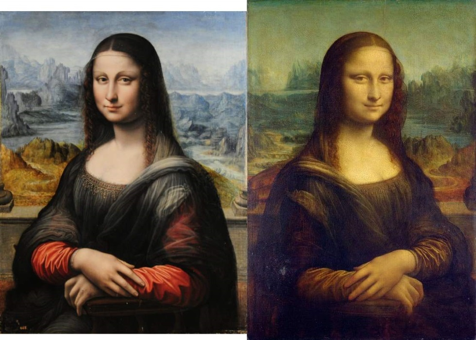 Mona Lisa del Prado and of Louvre presented back to back.