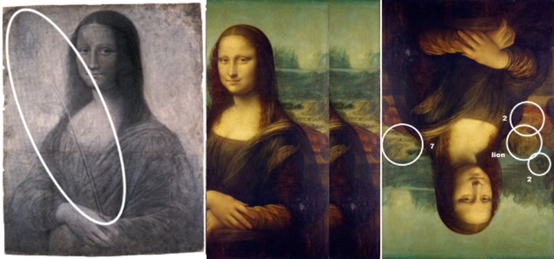 Mona Lisa with reed in her hand, then Mona Lisas on top of each others, and Mona Lisa upside down.