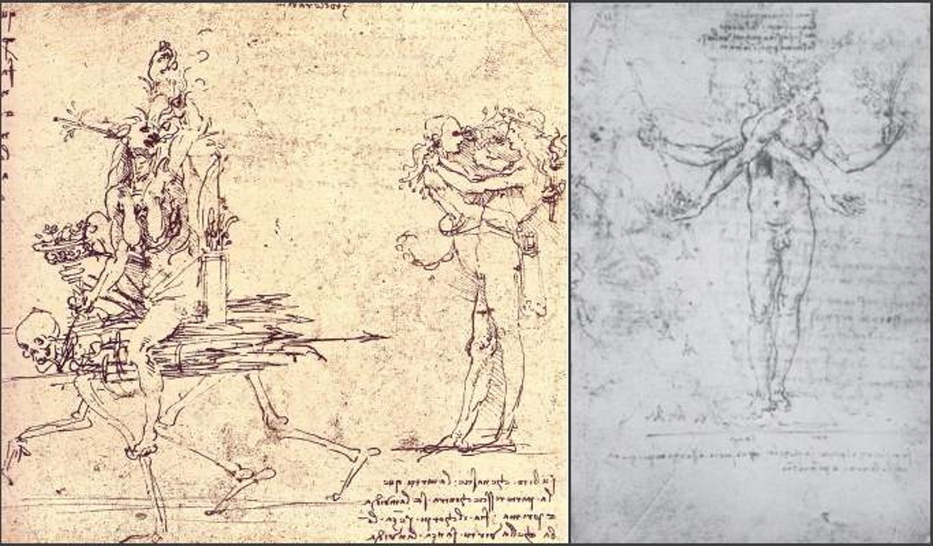 Envy Riding on Death and Pleasure and Pain, images from Allegories by Leonardo.