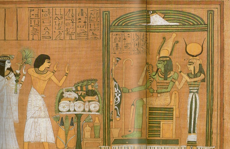 Scene from the Book of the Dead, where man and woman faces Father God Osiris.