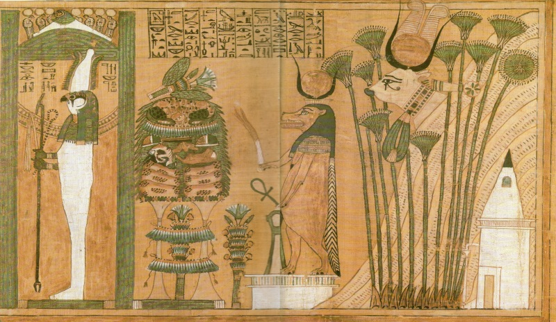 Scene from the Book of the Dead, where is tomb, mountain, Hathor-cow, beast-like goddess with Ankh, offering table and enlightened God.