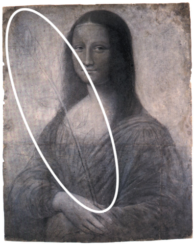 Sketch of Mona Lisa holding a reed in her right hand.