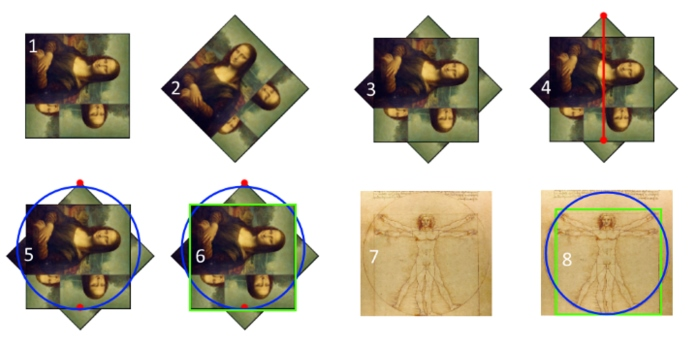 Series of images show how Mona Lisa turns into the Vitruvian Man.