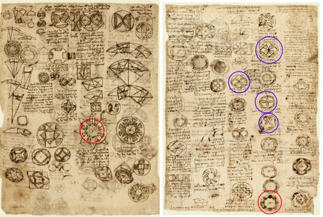 Leonardo's sketches show the Lakshmi Star etc.