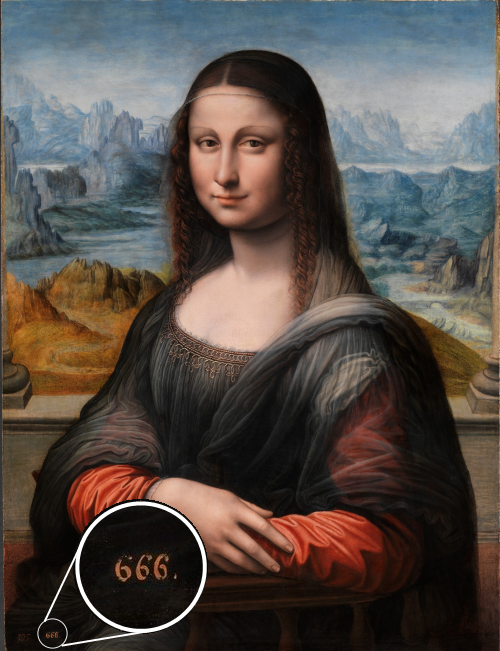 Mona Lisa from del Prado museum and the number 666 in its left lower corner.